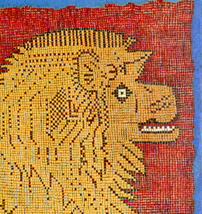 detail of chinese lion rug